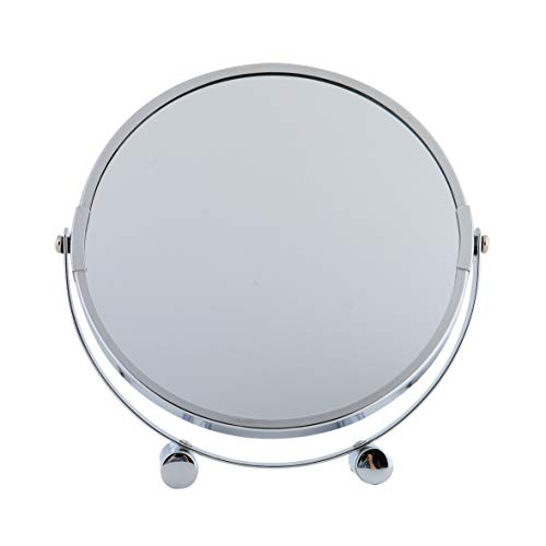axentia 3-fach Vergrößerungs-Standspiegel in Silber, rostfreier Badezimmerspiegel verchromt, runder Kosmetikspiegel im Durchschnitt ca. 17 cm - 3