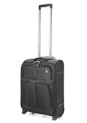Aerolite Ryanair Maximum Cabin Allowance Super Lightweight Travel Carry On Hand Luggage Suitcase 55x40x20 with 2 Wheels, Approved for Ryanair, Easyjet, British Airways and Many More Black