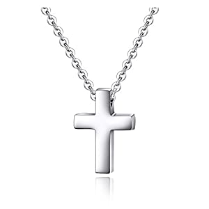 Kleiner Kreuz-Anhänger mit Halskette für Kinder, Jungen und Mädchen aus Edelstahl.