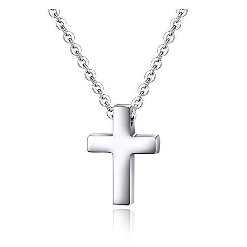 Kleiner Einfacher Kreuz-Anhänger für Kinder Jungen Mädchen Rostfreier Stahl Kleine Halskette (Mädchen Halskette Kreuz)