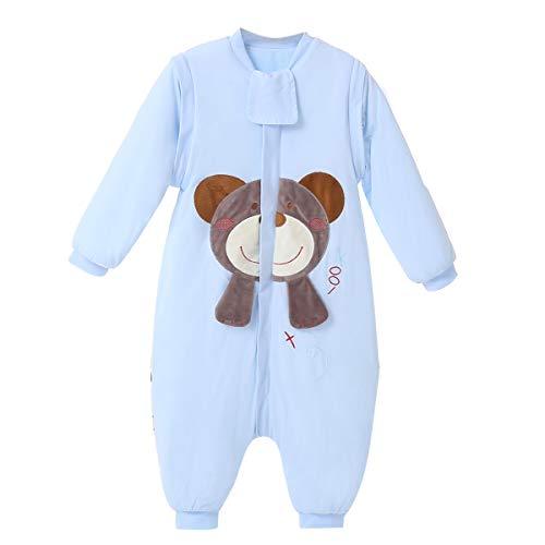baby schlafsack winter mädchen junge schlafanzug baumwolle 2.5 tog mit Bein,bar. (M:80cm(6-18Monate), Blau Bär)