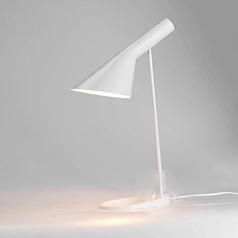 Skandinavische Fancy Licht Tischlampe Einfache Schatten Verstellbare Schlafzimmer Licht Stilvolle Tischlampe Restaurant Lichter Nachttischlampe Licht- Hoch 56cm, Basis Durchmesser 22cm-E27 (nicht enthalten) (Matt weiß)