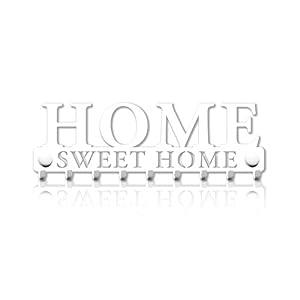 Schlüsselbrett 9 Haken Home Sweet Home Metall Garderobe Schlüsselleiste Hakenleiste Schwarz Wohnaccessoires Veranda Schlüssel Deko Schild Schlüsselboard