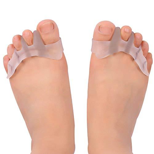 2 Zehenspreizer gegen Hallux Valgus Krallenzehen Bandage Korrektur Separator - Zehentrenner Schiene aus weichem Softgel-Silikon für Damen und Herren - Hautfreundlich und BPA Frei - Für Schuhe auch als Einlage geeignet