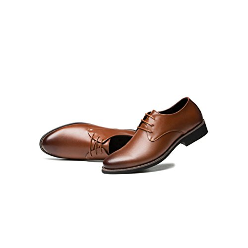 LYZGF Hommes Messieurs Business Casual Fashion Chaussures En Cuir Pointu Lace Brown