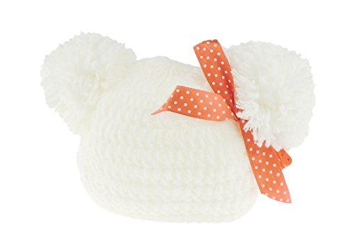 Baby Mädchen Jungen Knit übergroßen Pom Pom Baby Jungen Mädchen Warm Winter Hat 0–6Monate Gr. Einheitsgröße, White Premie (Pom Bootie)