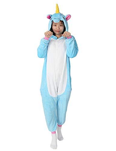 Einhorn Pyjamas Kostüm Jumpsuit -Karneval Cosplay Tier Schlafanzug Onesies Erwachsene Unisex Kigurumi (Large, Blau)