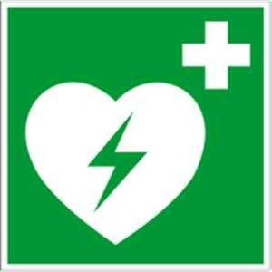 Preisvergleich Produktbild Hinweisschild auf einen Defibrillator (AED Automatisierter externer Defibrillator) gem. ASR A1.3 Folie 20x20cm (Rettungsschild) praxisbewährt