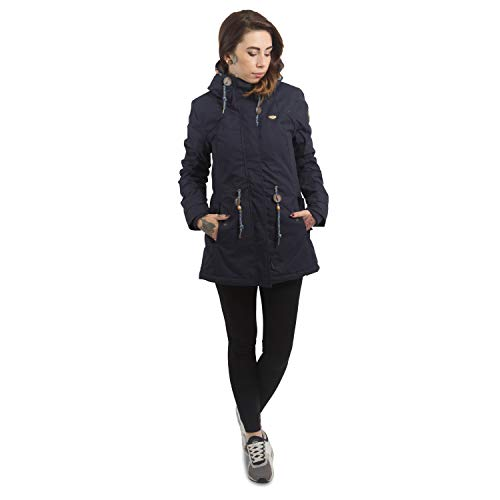 Ragwear Damen Wintermantel Parka Monadis, Navy, S - 4
