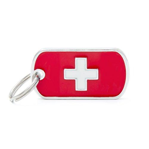 Médaille MyFamily Military Petite Flags Suisse plaque chien gravure gratuite coutume chat