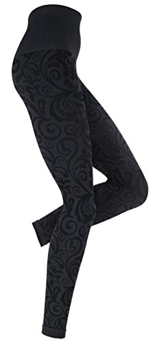 Figurformende Slim Leggings, Jacquard-Leggings, Florales Design in anthrazit (Leichte Mikrofaser Leggings)
