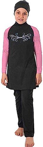 YEESAM® Muslimische Bademode Kinder Top-Qualität Modest Badeanzug für islamische Junge Mädchen schwarz + rosa