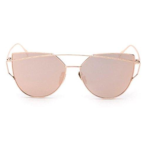 Unisex Sonnenbrille , Loveso 2017 Frauen Populäre Klassische Zwillings Balken Metallrahmen Katzenaugen Sonnenbrille (Rosa Golden)