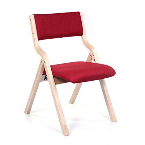 Chaise de loisirs Chaise de salle à manger Chaise de bureau Chaise de dossier Restaurant Créative Chaise pliante en bois Toile de jute (Couleur : Red)