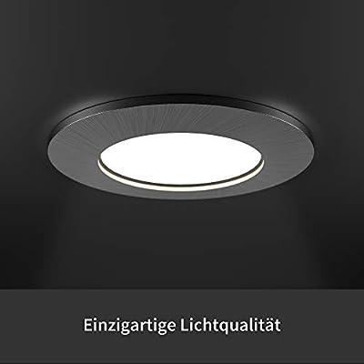 LED Einbaustrahler 6er Set von Scandinavian home | LED Spot Deckeneinbauleuchte ultra flach Badezimmer geeignet | 5W 480lm 3000K warmweiß 60-68mm 220 / 230V A+ | rundes Edelstahldesign - Milchglas