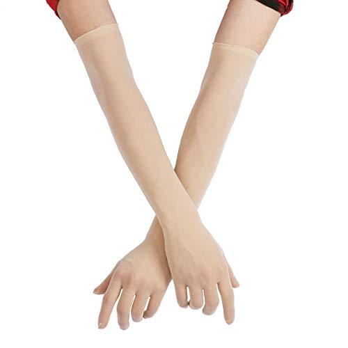 FEESHOW Damen Nahtlose Handschuhe Stulpenärmel Elastisch Strumpfhosen Nylon Durchsichtig Ellenbogen Lang für Hochzeit Abend Hautfarbe One Size Nylon-handschuh
