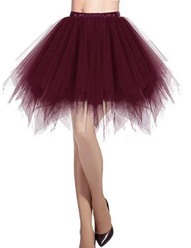 Clown Kostüm Tanz - Dresstells Damen Tüllrock 50er Rockabilly Petticoat Tutu Unterrock Kurz Ballett Tanzkleid Ballkleid Abendkleid Gelegenheit Zubehör Burgundy M