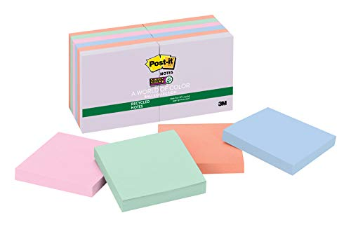 Post-it Recycled Super Sticky Notes, 3in x 3in, Bali Collection, 12Pads/Pack 90Blatt Pouch selbstklebend -