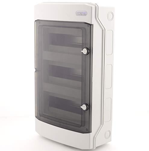 Sicherungskasten Aufputz IP65 Feuchtraum Verteiler Kleinverteiler 3-reihig 36 Module Installation im Garten oder andere Außenbereiche