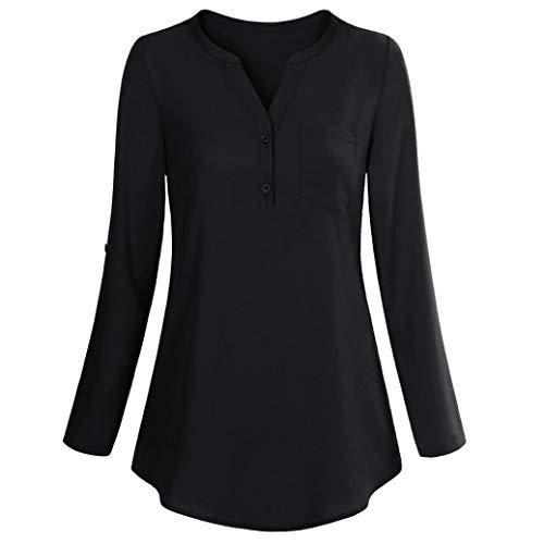SEWORLD 2018 Damen Mode Sommer Herbst Damen Langarm Roll-Up Top Beiläufige V-Ausschnitt Knopf Lagenhemd Blusen(X-e-schwarz,EU-42/CN-L) -