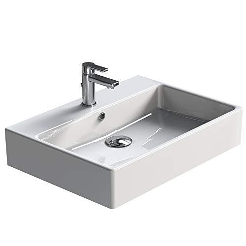 Aqua Bagno Waschbecken modernes Design weißer Waschtisch aus Keramik hochwertiger Möbelwaschtisch für das Badezimmer, 700x500x140 mm