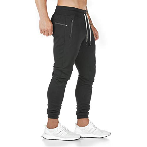 Yageshark Herren Jogginghose Sporthose Baumwolle Fitness Slim Fit Hose Freizeithose Joggers Streetwear (Schwarz, Large)