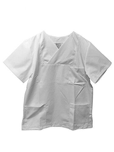 Kasack weiß Unisex D 42/44 H48/50 überlappender V-Ausschnitt, 1 Brusttasche, 2 Seitentaschen, Seitenschlitze (Seitenschlitze)