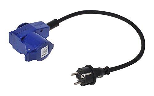 Nautika Adapterkabel 40 cm von Schuko Stecker 230V auf CEE 16A Winkelkupplung Schukosteckdose und Schuko Kupplung Adapter Verteiler Verteilung