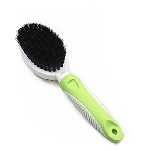 UEETEK Hundesalon Bürste Kamm,Doppelseitiger Pin und Borste DeShedding Haarbürste für Hunde Katzen (grün)