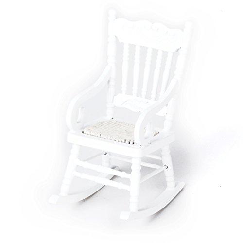 Möbel Schaukelstuhl (1/12 Miniatur Puppenhaus aus Holz Schaukelstuhl Modell Weiß)