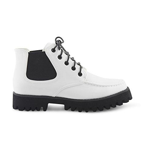 Neue Damen Dolcis geschoben mit genagelter Sohle Schnürschuh Slipper Stiefelette Damen Mädchen Punk Celebrity Fashion Schuhe Weiß