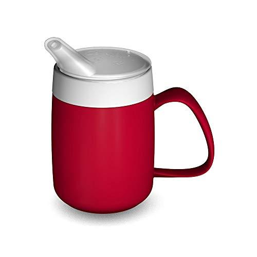 Ornamin Becher mit Trink-Trick, Thermofunktion und Schnabelaufsatz 140 ml rot (Modell 207 + 806) / Thermobecher, Spezial-Trinkhilfe, Schnabelbecher