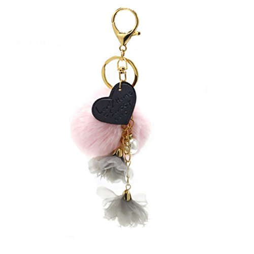 Hevoiok Beliebt Herzförmige Quaste Fur Ball Schlüsselanhänger Plüsch Herz Halter Pompoms Keychain Tasche Riemen Anhänger Mädchen Valentinstag Geschenk (Rosa) (Riemen Quaste)