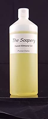 Sweet Almond Oil - 1 Litre Cosmetic Grade for Massage, Aromatherapy, Soaps, Lotions. Pure Carrier Oil suitable for Scalp, Face, Skin, Eyes and Hair Treatments by The Soapery