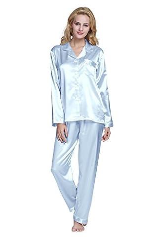 Damen Schlafanzüge Lang Satin Lang Pyjama Set Nachtwäsche von TONY & CANDICE (XL, Hellblau)