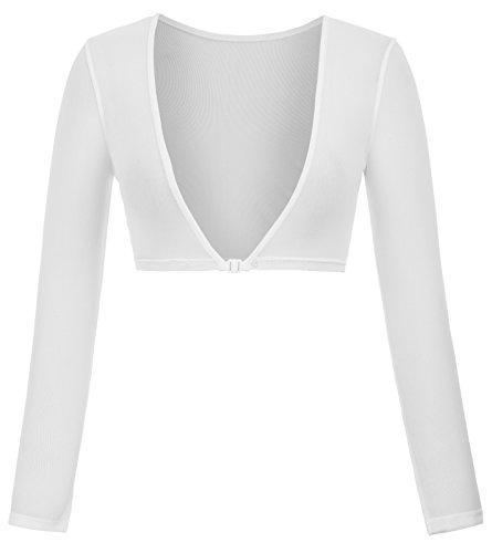 Kate Kasin Damen Sommer Durchsichtig Langarm Crop Top Blusen Weiß (899-2) Large Spandex Reversible Vest