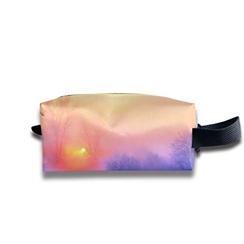 Makeup Cosmetic Bag Winter Sun Tree Landscape Travel Make-Up Bags Pen Case Portable Storage Multi Pack In Womens Avon