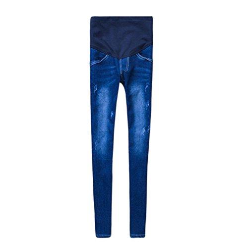 Gugutogo Pantalones de maternidad de jeans de algodón elástico de las mujeres embarazadas Pantalones de maternidad de mezclilla (color: azul oscuro) (Tamaño: M)