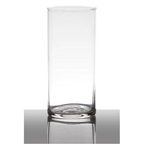 Hakbijl Dekoglas, Vase Zylinder H. 19cm D. 9cm transparent rund Glas