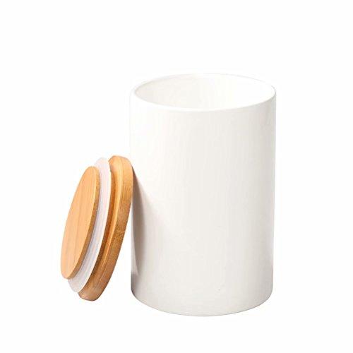 77L Vorratsdose, 430 ML (14.52 OZ), Keramik Vorratsdose mit luftdichtem Verschluss Bambusdeckel -...