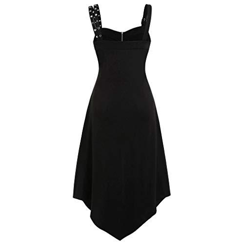 WINLISTING Frauen Plus Size Cool Solid Zipper unregelmäßiger Saum ärmelloses Leibchen Minikleid