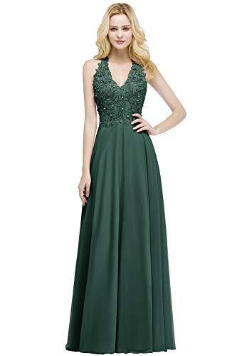 MisShow Damen Glitzer Abendkleid mit Perlen Abschlusskleider Ballkleider Partykleider Langes Abendkleider Grün 34