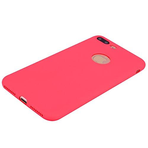 2x Cover iPhone 7 Plus,ZHXMALL Custodia iPhone 8 Plus Silicone Colore Candy TPU Flessibile Morbido Ultra Sottile Leggero Gel Gomma Cassa Protettiva Anti-urto Anti-Graffio Cellulari Protezione Shell Pa Rosso + Nero