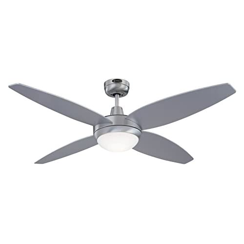 31CzNM9xN3L. SS500  - Westinghouse Ceiling Fans 72546 Havanna One-Light 132 cm Four-Blade Indoor Ceiling Fan, Brushed Aluminum Finish with Opal Frosted Glass, aluminium