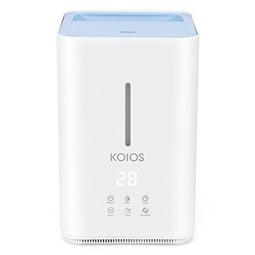 KOIOS Umidificatore Ultrasuoni 4L, Acqua di Rabbocco Superiore, Sensore di Umidità, Funzionamento Silenzioso con Modalità di Nebulizzazione Regolabile per Case, Ufficio, Camera da Letto