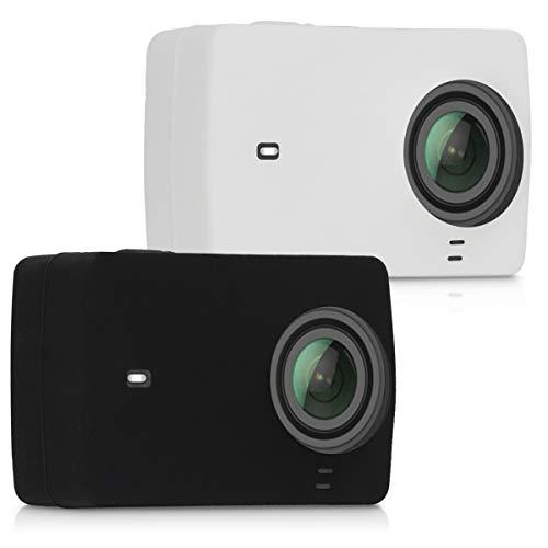kwmobile 2X Funda para Xiaomi Yi Action Camera 4K/4K Plus - Carcasa de [Silicona] para cámara Deportiva - Cover 360 [Negro/Blanco]