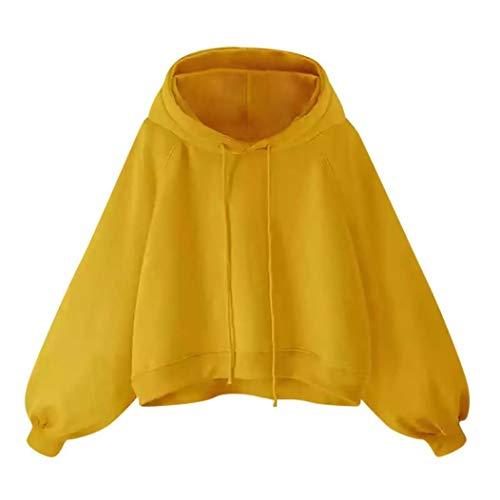 Riou Kapuzenpullover Hoodie Elegante Blusen Damen Oberteil Frauen Hoodie Sweatshirt Lantern Langarm Pullover Lose Dünne t Shirt Damen Tops Bluse (XL, Gelb)