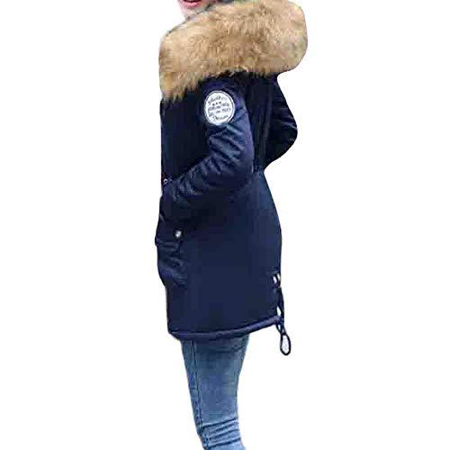 SEWORLD Winterjacke Steppjacke Frauen Oberbekleidung Kapuzen Kordelzugmantel Lange,Baumwollgefüllte Jacken, Taschenmäntel(Marine,EU-38/CN-XL)