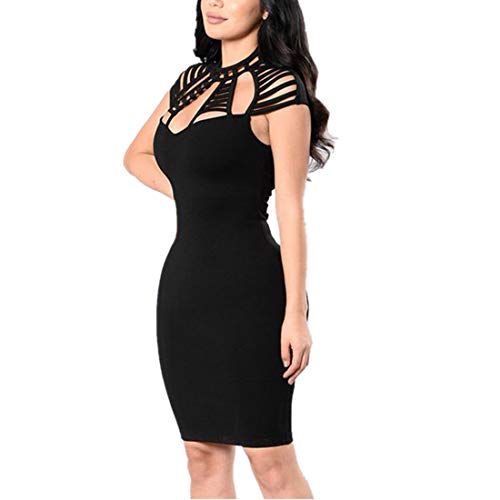 VJGOAL Frau Kleider, Damen Sexy Kleider Party Abendkleid Aushöhlen Minikleid Kurz Bodycon Abend Clubwear Kleid Hüfte Partykleid(Schwarz,36) (Barbie Fee Kostüm Mädchen)