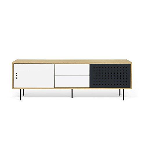 Paris Prix - Temahome - Meuble TV Design dann Dots 201cm Chêne & Blanc